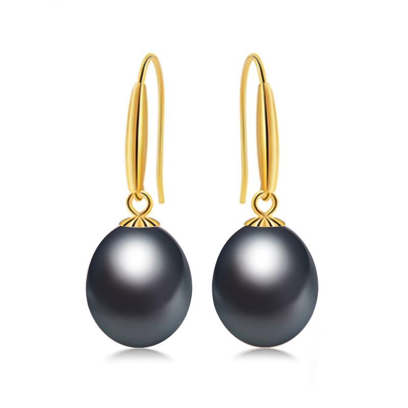 DAIMI 18 k or crochet boucles d'oreilles 8-9mm perles d'eau douce boucles d'oreilles de haute qualité marque bijoux pour les femmes - 4