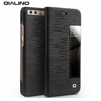QIALINO View Window Smart Lizard Grain Genuine Cowhide Leather Cover Case For Huawei P10 P10 Plus