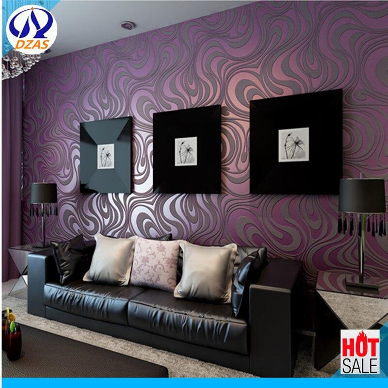 US $20.19 30% OFF|Für wohnzimmer schlafzimmer 3D geometrische tapete rolle  Streuen gold, schwarz lila farbe vlies tapete hintergrund tapete-in Tapeten  ...
