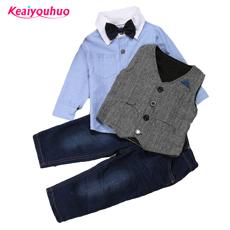 2017 Spring Autumn Children's Clothing Sets T shirt+vest+kids Pant 3 pcs Set For 2 3 4 5 6 7 years Baby Boys Girls clothes