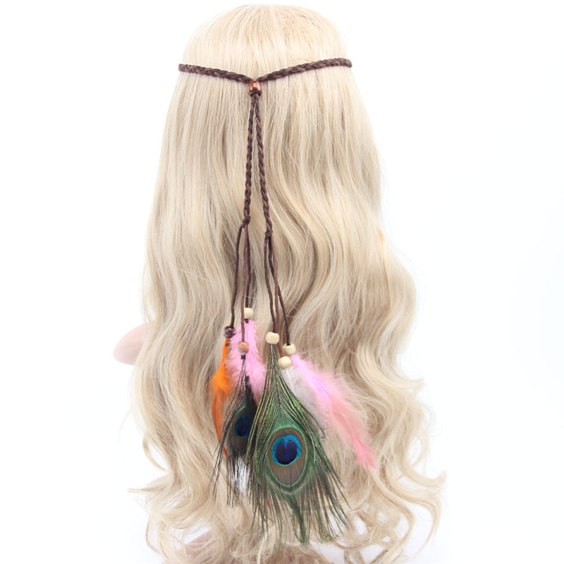 1pc fashion Bohemia Indian style Peacock Feather Hair accessories Retro feather headband rope knitted tassel hairband