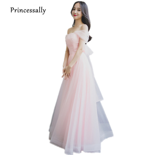 Pastel Pink Bridesmaid Dreses Long Elegant Boat Neck Tulle Charming Sexy  Off-the-shoulder Long Prom Party Gown Robe De Soriee 1a734284f938