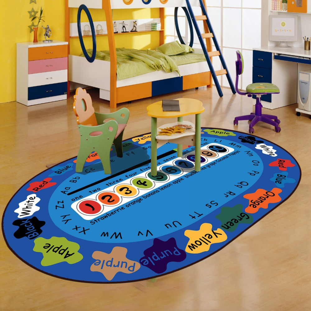 Brand Oval Carpet Rug For Children Living Room Blue Letters Play Toy Pad Chair Rugs Soft Velvet Sofa Side Mat AlfombraBrand Oval Carpet Rug For Children Living Room Blue Letters Play Toy Pad Chair Rugs Soft Velvet Sofa Side Mat Alfombra