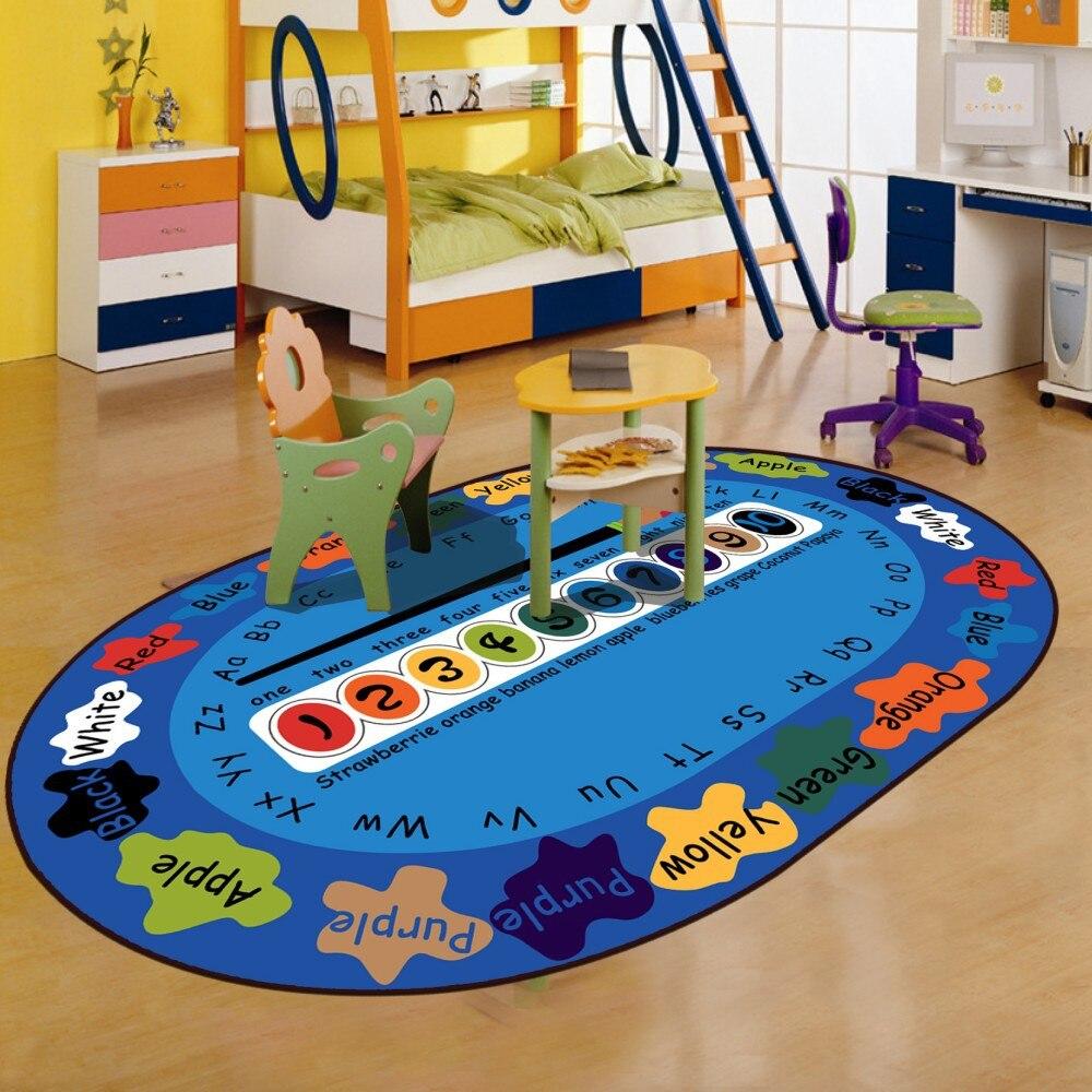 Marque tapis ovale tapis pour enfants salon lettres bleues jouer jouet Pad chaise tapis doux velours canapé côté tapis Alfombra