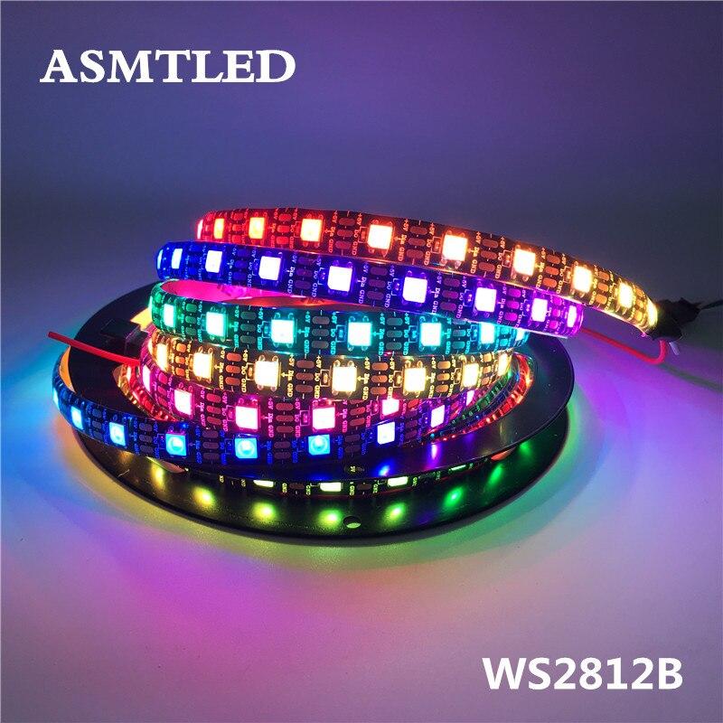 the latest d6e93 9b1ce US $0.99 30% OFF|WS2812B LED Strip WS2812 IC 5V 30/60/144 leds Individually  Addressable WS2811 DC12V 2811 IC RGB Smart LED Pixels Strip Black PCB-in ...