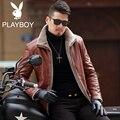 New 2017 winter jacket men 's fur one plus velvet leather jacket men Motorcycle leather jackets M-4XL