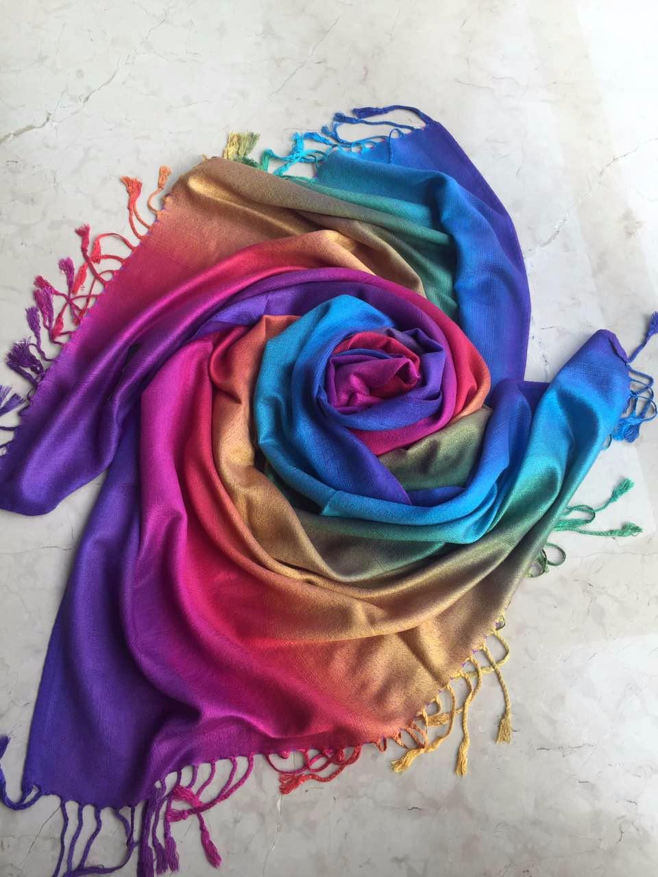 Rainbow Glow Pashmina Scarf | Pashmina Scarves