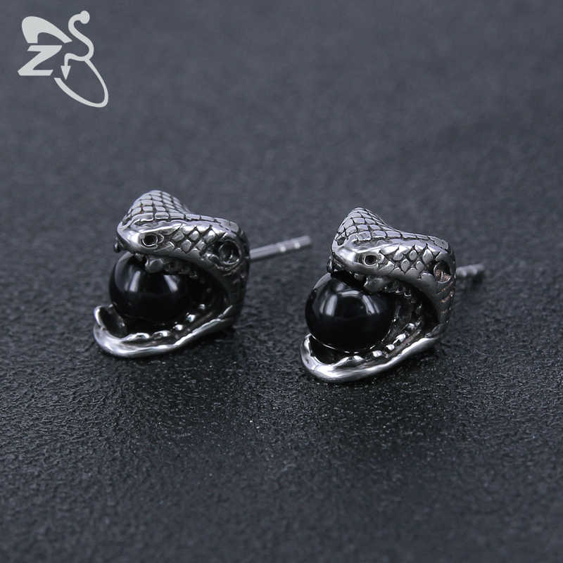41017e9e72672 ZS Stainless Steel Snake Earrings with 3 Color Round Crystal for Men Women  Vintage Hip Hop Stud Earring Punk Rock Roll Jewelry
