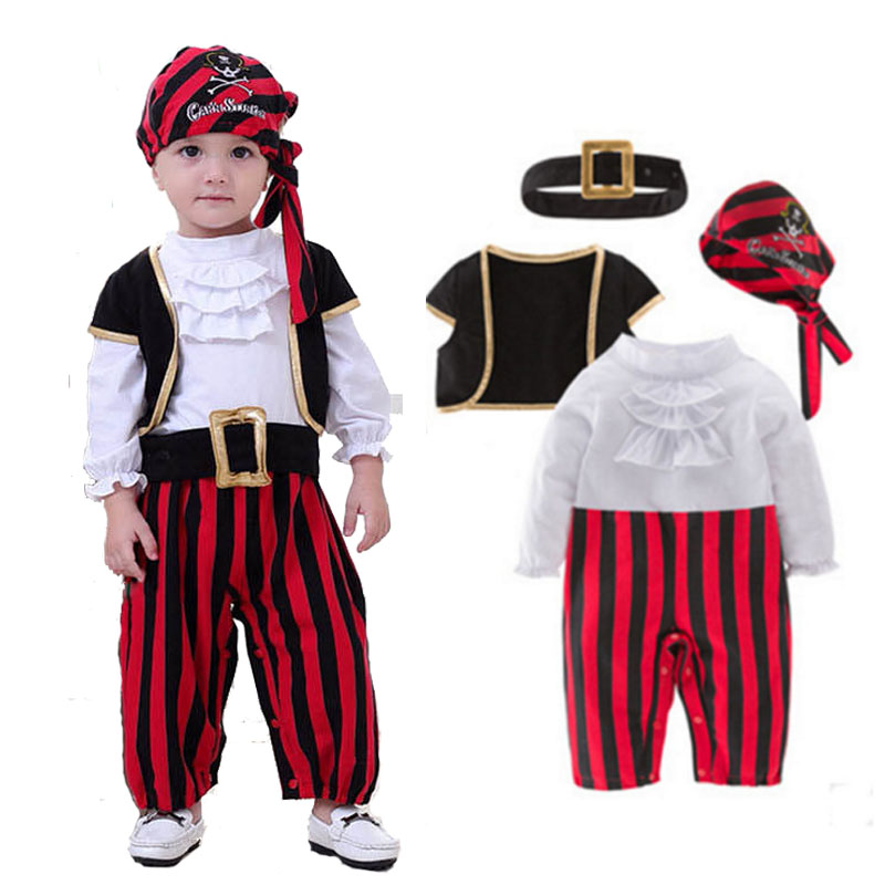 Halloween Baby Boys Cosplay Pirates Of The Caribbean Costume Kid Party Clothes Pirate Captain Costumes Christmas Birthday Wear