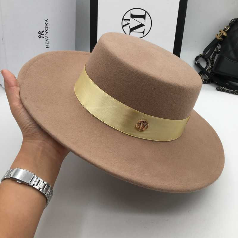 29865d54ef935 And camel wool hats for men and women joker Flat hat letters flat brim felt  hat