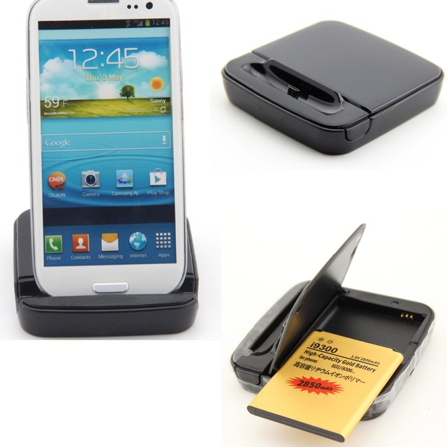 S3 Battery 2100mAh +Desktop Dual Charger Cradle For Samsung Galaxy S3 i9300 i747 i535 L710 T999 SIII  EB-L1G6LLU