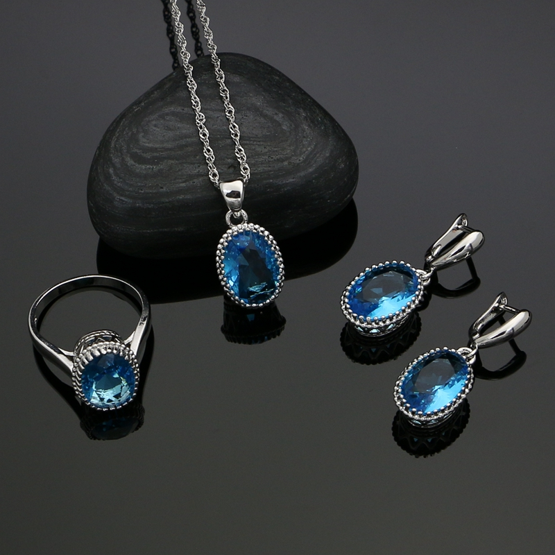 Oval Sky Blue Natural Crystal Zircon 925 Sterling Silver Jewelry Sets For Women Wedding Earrings/Ring/Necklace/Pendant Free Box