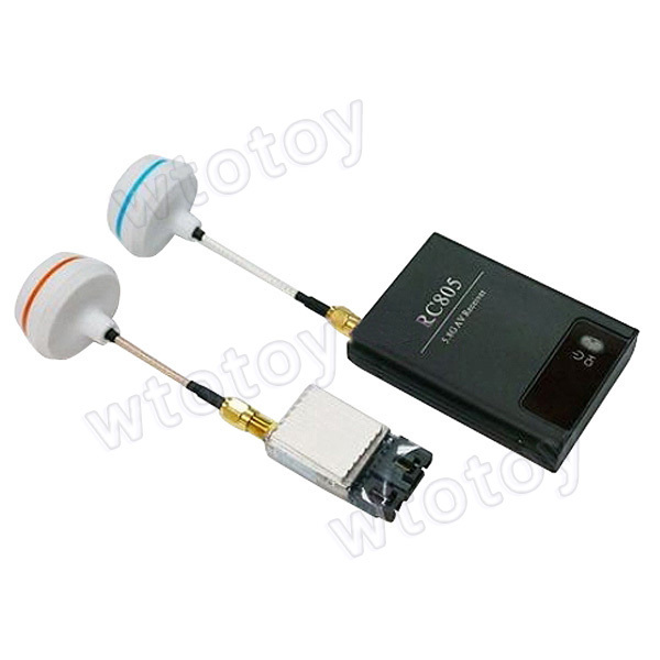 RC805 AV Receiver and TS351 5.8G 200mW AV Transmitter Set w/SMA Female Antenna for FPV Airplanes 5 8g 11dbi 200mw panel antenna w 5 8g right angle tx sma female antenna gains for fpv