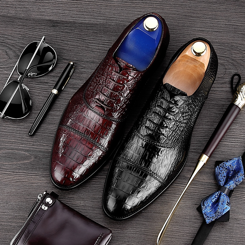 Elegant Alligator Man Cap Top Wedding Shoes Male Genuine Leather Dress Oxfords Pointed Toe Lace up Formal Men's Party Flats MG33 men s pu leather wedding flats new british men shoes fashion man pointed toe formal wedding shoes male dress shoes