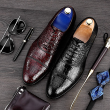 Elegant Alligator Man Cap Top Wedding Shoes Male Genuine Leather Dress Oxfords Pointed Toe Lace up Formal Men's Party Flats MG33