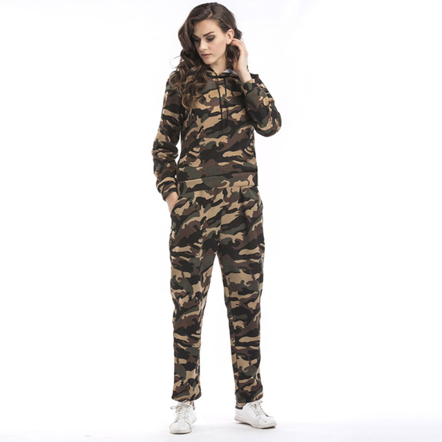 706471383f70d Women Two Piece Set Tracksuits Top and Pants Green Red Sportwear Sporting  Suit Camouflage Military Hoodies