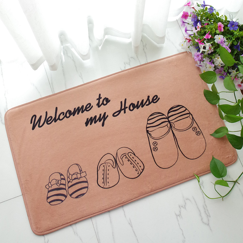 2018 Modern Style Lovely Painting Welcome Print Carpets Anti-slip Floor Mat Outdoor Rugs ...