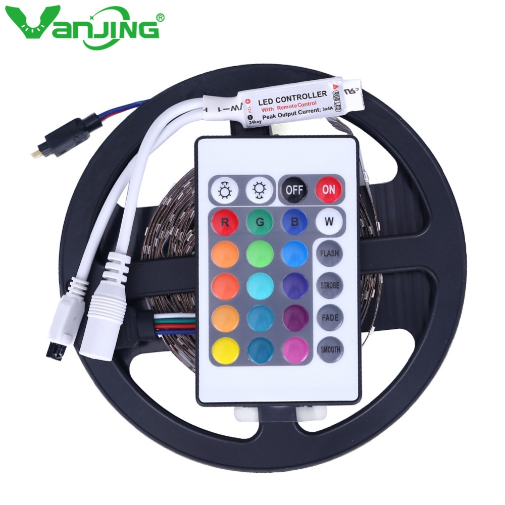 RGB LED Strip 5M 300LED SMD3528 + 24 Keys IR Remote Controller Changeable Light Home Decoration Diode Tape SMD LED Ribbon rgb led strip 5m 300led motorcycle 3528 smd ir remote controller 2a power adapter flexible light led tape home decoration lamps