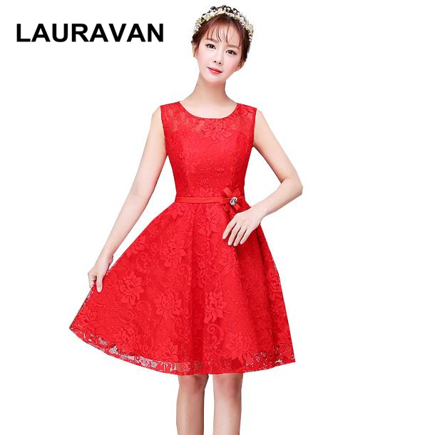Elegant Pretty Bridesmaid Short Petite Formal Sweet 16 For Girls Red Puffy Dress Girl Lace Dress Ball Gown For Wedding Party