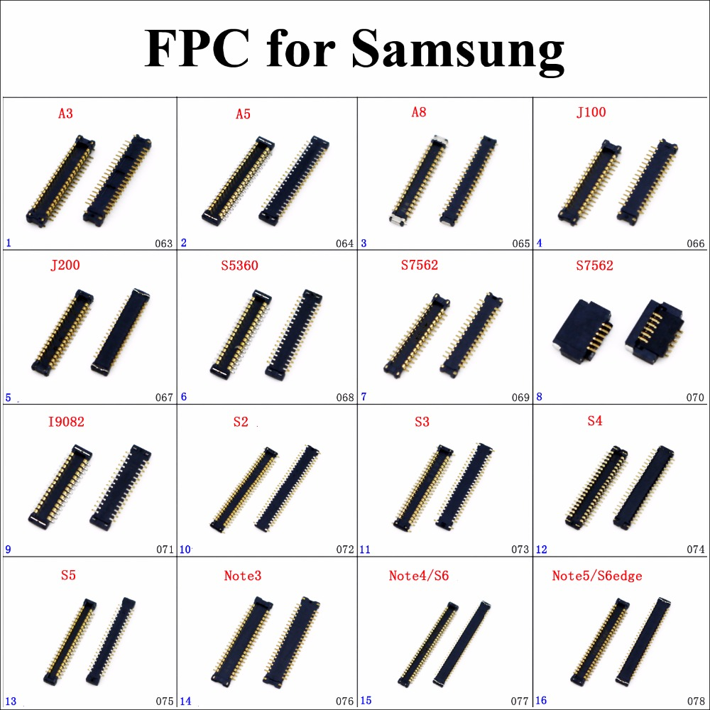 ChengHaoRan 1pc LCD Display FPC Connector For Samsung NOTE5 S6 Edge Note4 Note3 S5 S4 S5 S2 I9082 S7562 S5360 J200 J100 A8 A5 A3
