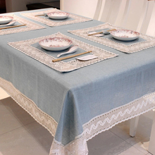 Simple Europe Blue Tablecloth Linen Cotton Lace Edge Rectangular Dust Proof Table Covers for Tea Fridge High Quality