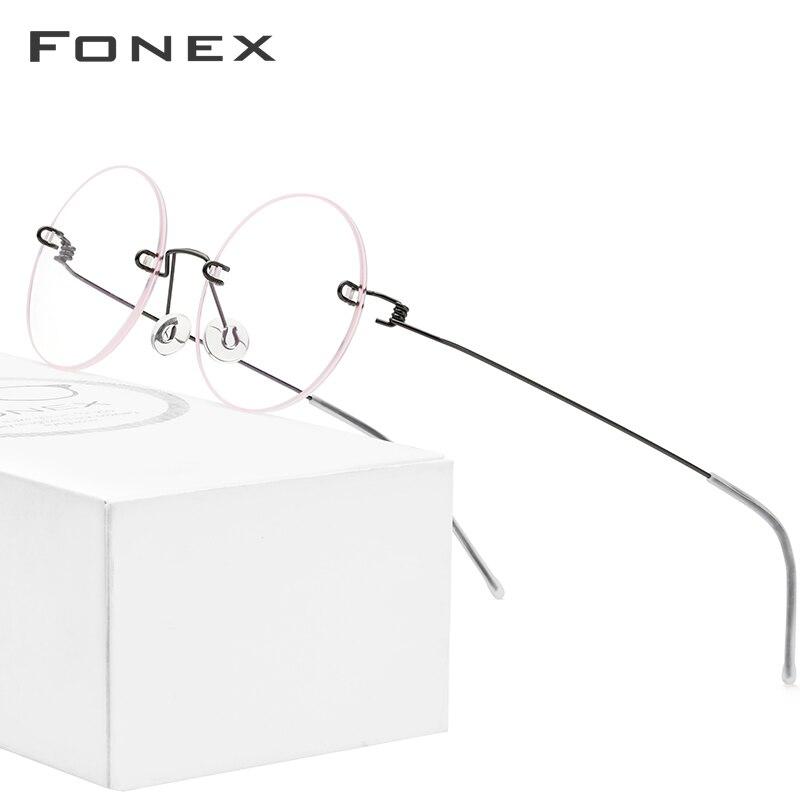 FONEX Screwless Eyewear Prescription Eyeglasses Women Rimless Round Myopia Optical Korean Titanium Alloy Glasses Frame Men