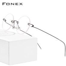 FONEX ללא בורג Eyewear מרשם משקפיים נשים ללא שפה עגול קוצר ראיה אופטי קוריאני טיטניום סגסוגת משקפיים מסגרת גברים 98620