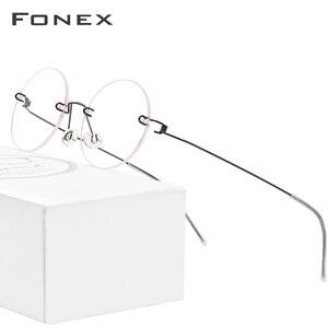 Image 1 - FONEX bezśrubowe okulary okulary korekcyjne kobiety bez oprawek okrągłe krótkowzroczność optyczne koreański tytanu okulary z lekkiego stopu rama mężczyźni 98620