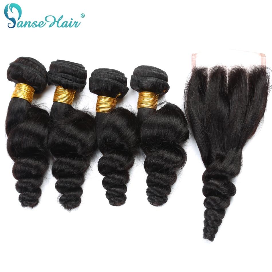 Panse Hair Peruvian Hair Loose Wave Hair 4 Bundles Hair With Closure - Mänskligt hår (svart)