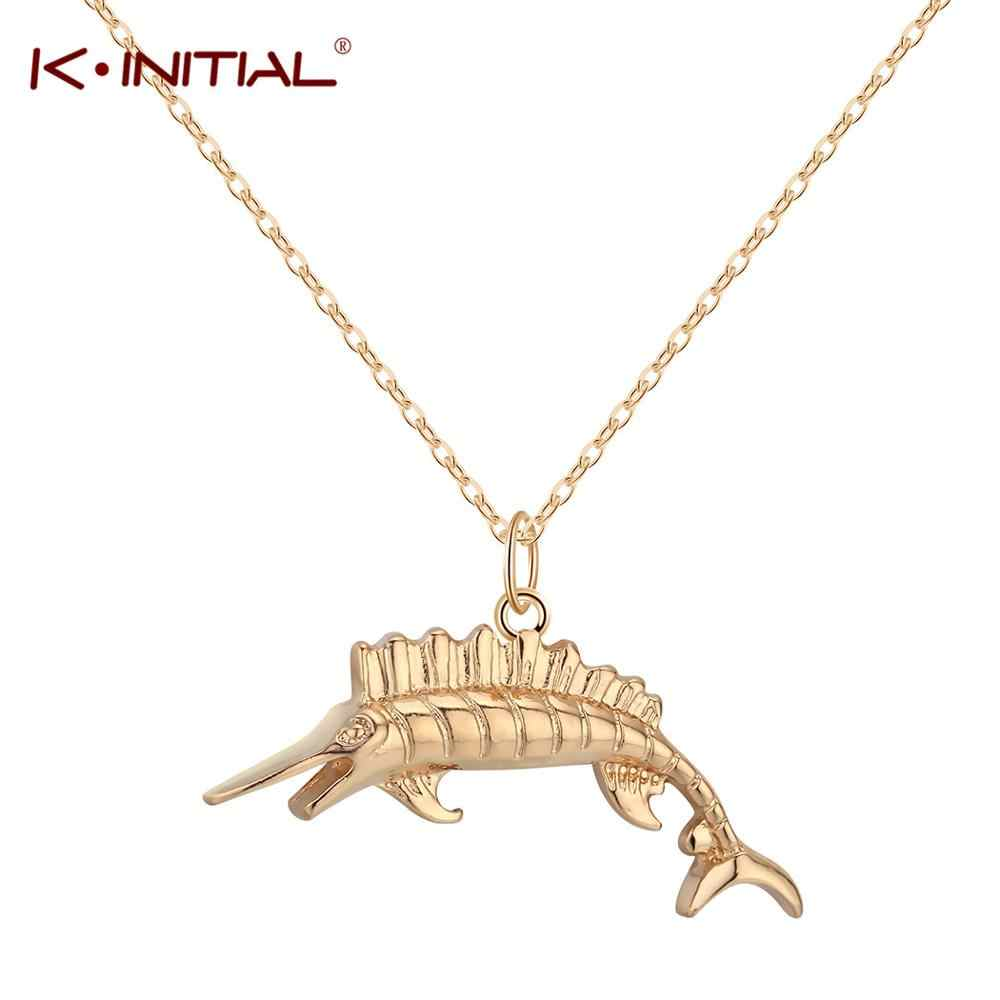 Kinitial Fashion Sea Fish Pendant Necklace for Women Men Silver/Gold Color Cute Fish Necklaces Jewelry Wholesale Hiphop Item