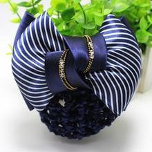 1PCS Girl Elastic Hair Bands Large Bowknot Ties Ribbon Net pocket Bow Rope Women Headwear Accessories
