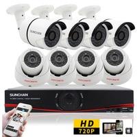 SUNCHAN New 8CH 720P AHD 960H NVR 720P Indoor Outdoor 36pcs IR Leds Metal CCTV Security
