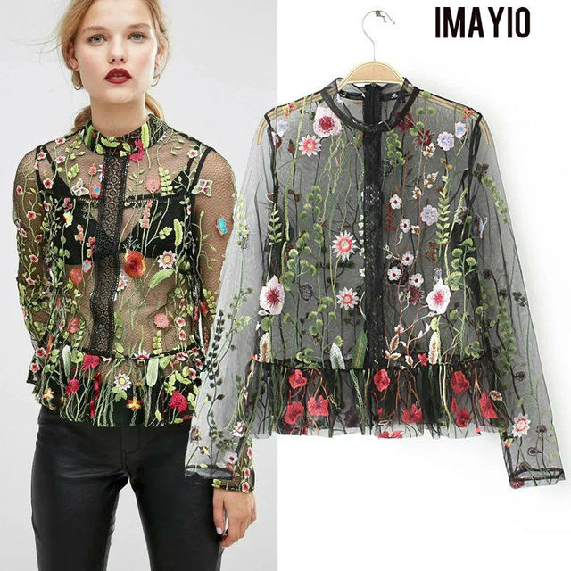 35db0b23d4e Imayio Women Mesh Top Blouse Plus Size Gorgeous Womens Tops Long Sleeves  Sheer Mesh Embroidery Blouses Shirts