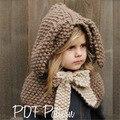 Hat& Scarf Suit Autumn Winter Kids Warm Handmade Knit Beanie Cartoon Rabbit Cape