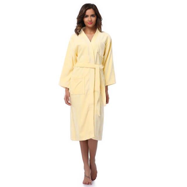 9799c6d897 Online Shop Women Robes 2018 Winter Warm Cotton Sleepwear Kimono Robe Woman  Hotel Spa Long Sleeve Soft Plush Bathrobe Solid nightgown Pijama