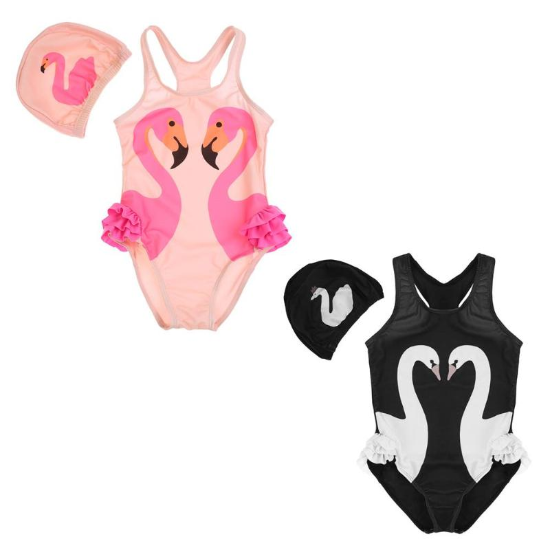 Girls Baby Children Clothing Set One-Piece Suits Swimwear Cute Kids Swan Print Bathing Suit Romper with Swimming Cap retail cute girls swimwear ariel one pieces swimsuit kids ruffled swimming suit for girl children bathing suit with cap