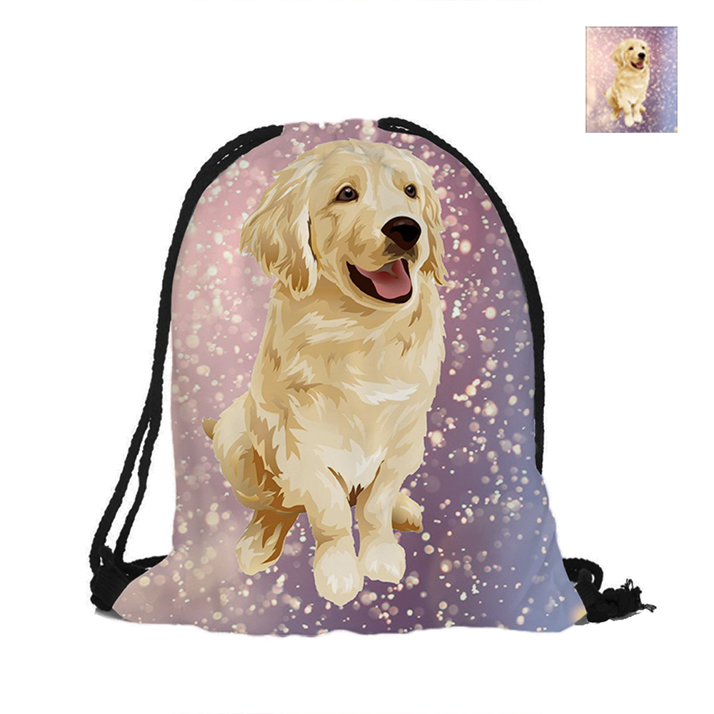 Golden Retriever Dog Drawstring Backpack For Shopping Fashion Polyester Bags Women Men Pouch Backpacks Shoulder Bag japanese pouch small hand carry green canvas heat preservation lunch box bag for men and women shopping mama bag
