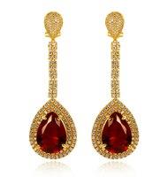 4 color! color de oro de joyería de la boda de lujo circón cúbico larga cuelga los pendientes de las mujeres de la vendimia grande del pendiente de gota rojo negro (hylk)