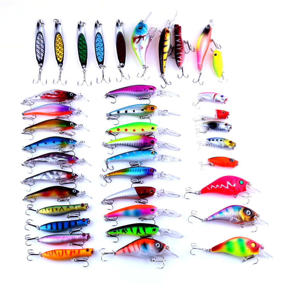 HENGJIA 39PCS/Set Plastic Minnow Sequins Spinner Bait Lure Hook 6 Size Mixed Color Fishing Tackle Target for Wobbler Carp Bass 5pcs hard plastic fishing lure wobbler minnow squid tentacle diving trolling bait 14cm 40g hook size 1 0 free shipping