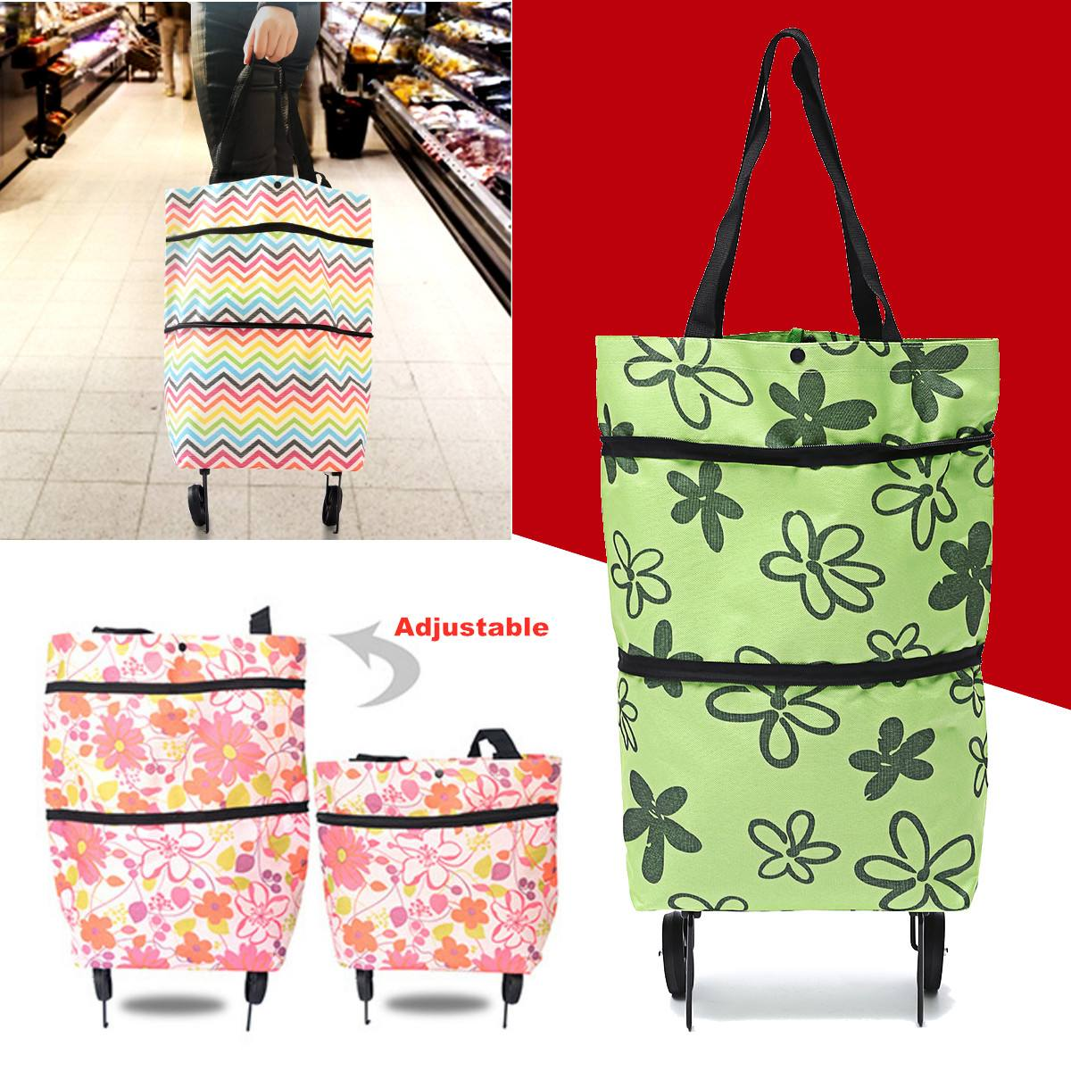 Oxford Cloth <font><b>Folding</b></font> <font><b>Shopping</b></font> Cart Laundry Grocery Trolley Dolly Handcart Market <font><b>Shopping</b></font> <font><b>Bag</b></font> with 2 <font><b>Wheels</b></font> Portable Tug Car image