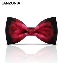 Lanzonia Designer Zwart En Rode Bloemen Patroon Mens Wedding Vlinderdas Vrouwen Nieuwigheid Bowtie Unisex Trendy Unieke Art Boorden