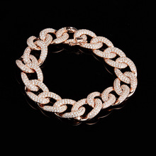 2016 New  High-end Luxury Exaggerated 925 Silver 18K micro gold inlaid CZ fashion jewelry chain bracelet