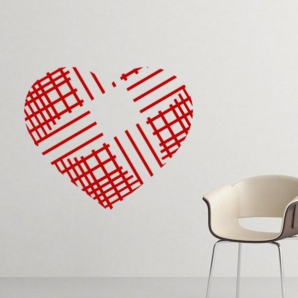 Valentinstag Herzförmige Rote Kreuzung Linien Abbildung Muster Entfernbare  Wandaufkleber Kunst Decals Tapete Für Zimmer Aufkleber In Valentinstag ...