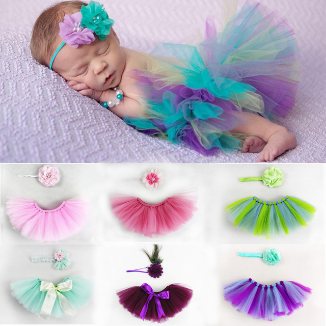 Girls Baby Tutu Skirts With Flower Headband Newborn Infant Fluffy Tulle Skirt Bebe Princess Costumes Photography