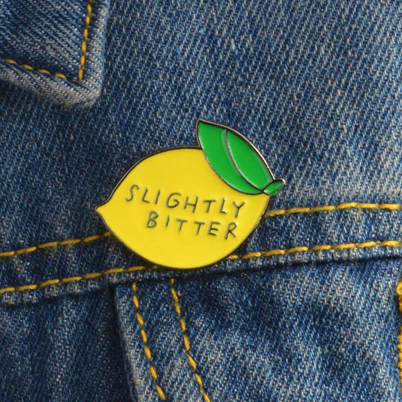 2018 Kartun Lemon Enamel Pin Sedikit Pahit Bros Hadiah untuk Anak-anak Teman Buah Icons Pin Lencana Tombol Perhiasan Aksesoris