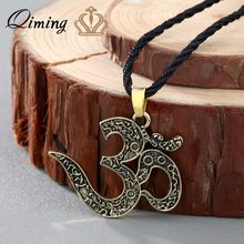 QIMING OM Necklace Ohm jewelry OM Charm yoga Jewelry Women Silver Ethnic Necklace Meditation Yoga Men Jewelry Bijoux Femme(Hong Kong,China)