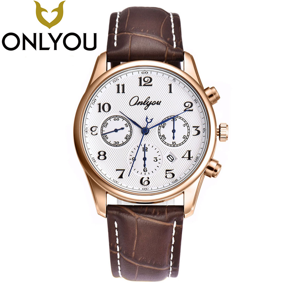 ONLYOU Top Brand Watches Men 2017 Luxury Business Wrist Watch Minimalist Watch Women Leather Quartz Mens Hours Clock Wholesale стоимость