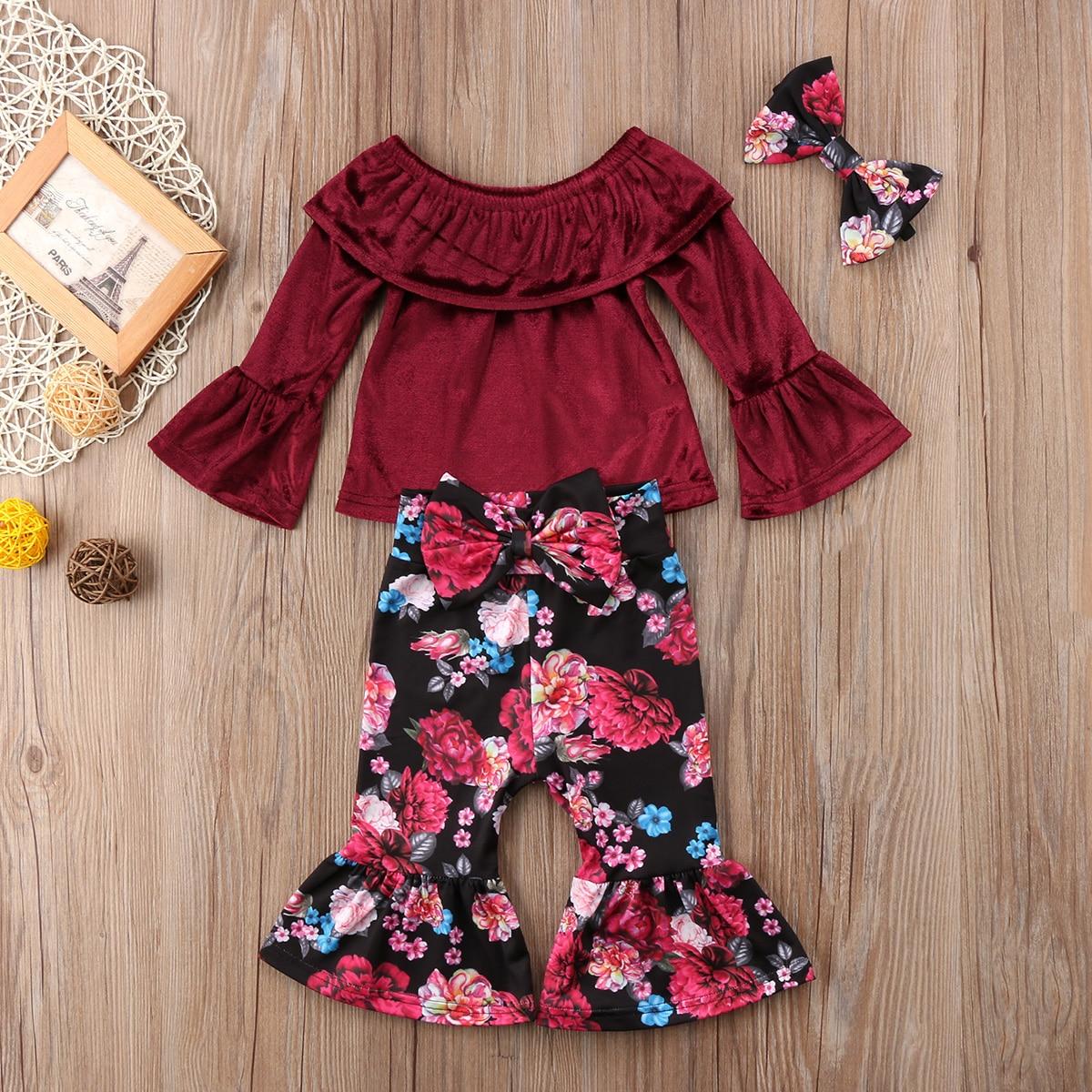 Liefdadig Peuter Pasgeboren Kid Meisje Bloemen Kleding Tops Rood Flare T-shirt Blouse Fakkels Lange Broek 2 Stks Kleding Set 12m-5y Yu