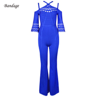 2018 Newest Summer Bandage Jumpsuit Women Celebrity Party Blue Spaghetti Strap Hollow Out Flare Sleeve Sexy Night Out Jumpsuits