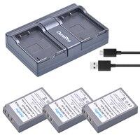 3*BLS 5 BLS50 BLS5 BLS 50 2000mAh battery+USB Dual Charger for OLYMPUS EP1 PL2 PL5 PL6 E PL7 E PM2 E450 E600 E620 Stylus EM10 et